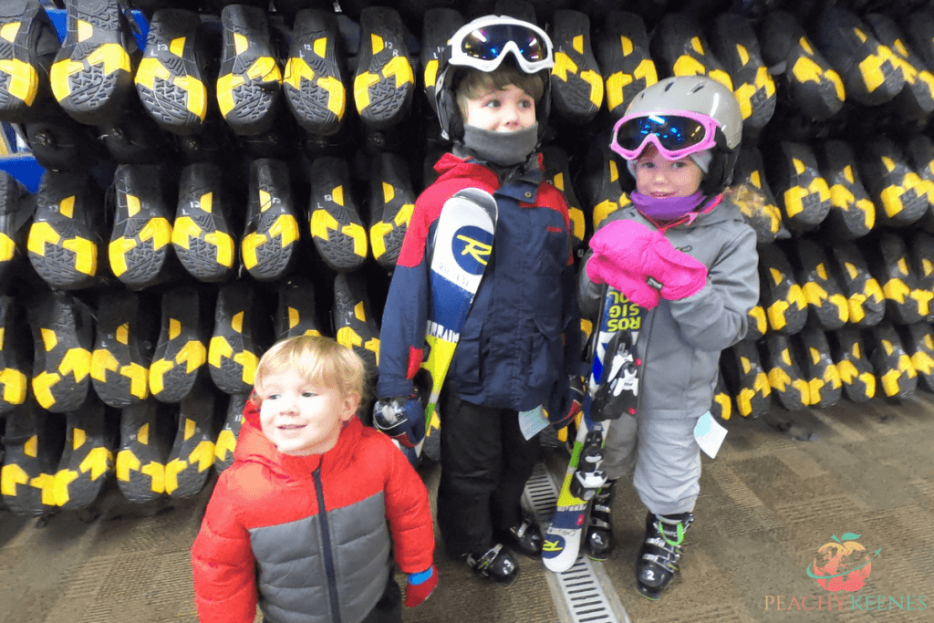My first-time skiers