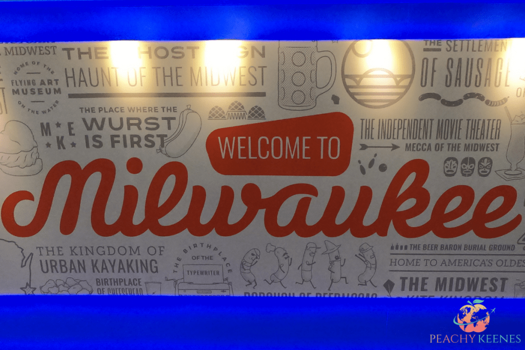 "Sign from the airport that says ""welcome to Milwaukee"""
