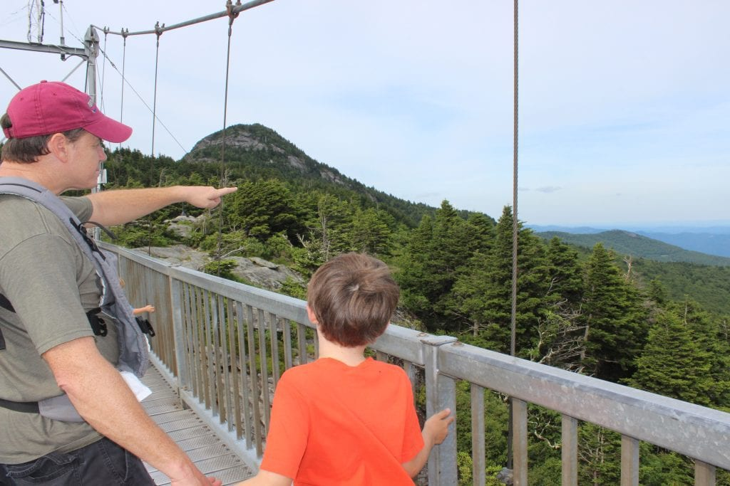 Dad pointing to mountains with son on mile high bridge