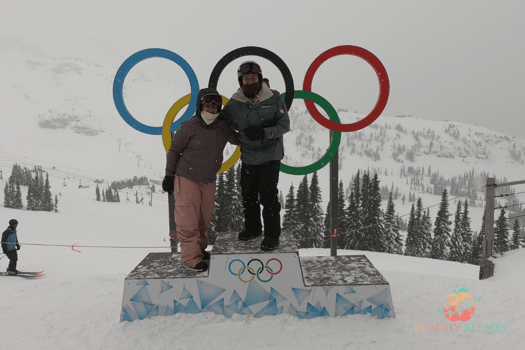 Picture of couple at Olympic Rings in Whistler in winter