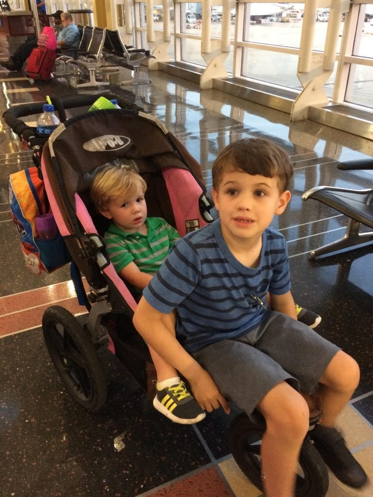 2 kids in stroller in Washington D.C.