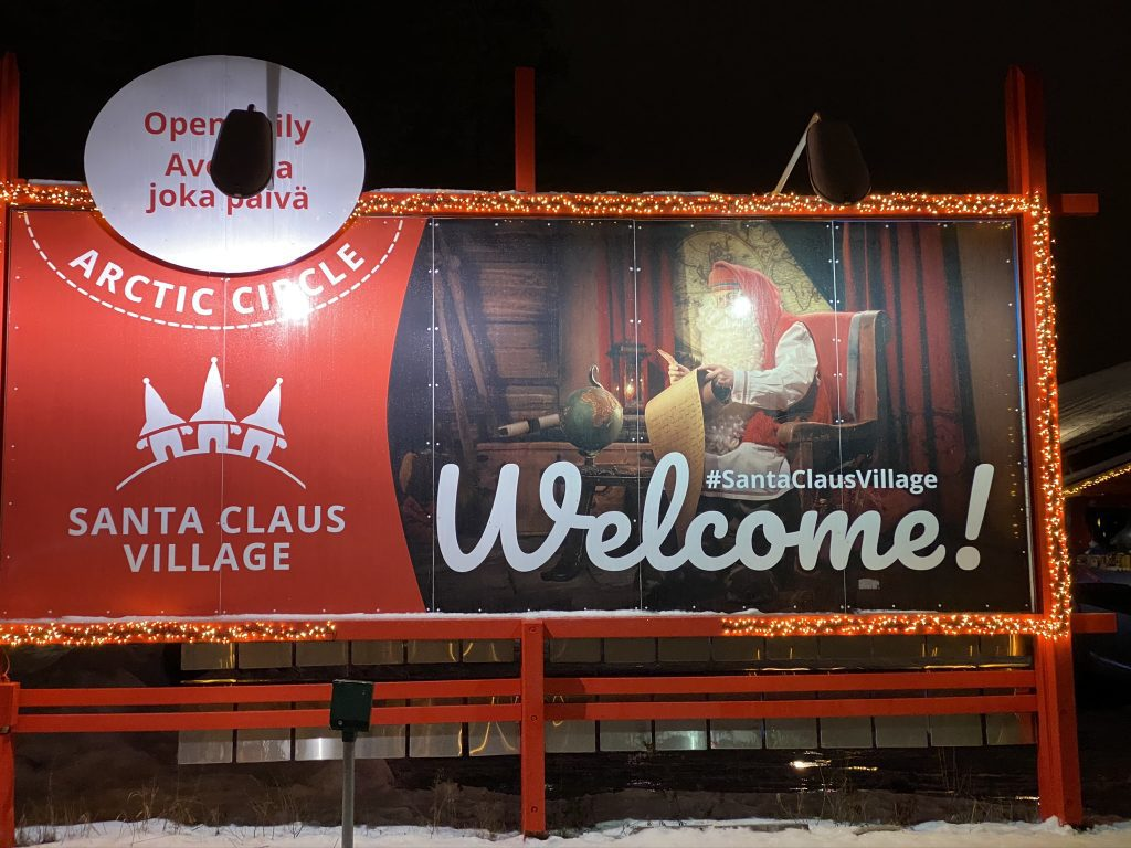 Welcome sign at Santa Claus Village