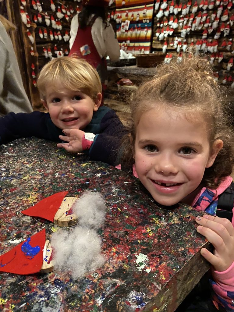 kids making santa craft