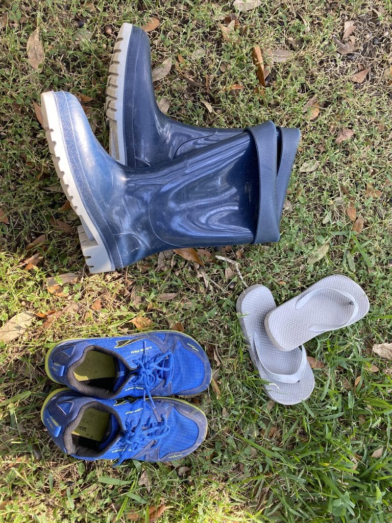 3 Pairs of Shoes: Boots, Flip flops, and sneakers: Family Camping Gear