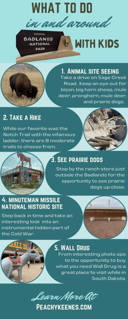 Infographic sharing what to do in and around badlands national park with kids.  5 tips are given: animal site seeing, take a hike, see prairie dogs, minuteman missile national historic site, and wall drug.